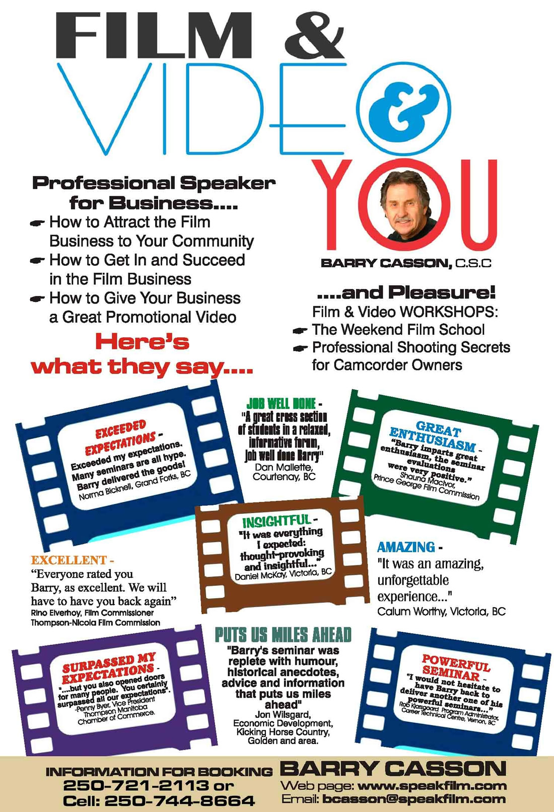 Film & Video Presentations for Your Business with Barry Casson, csc, Public Speaker