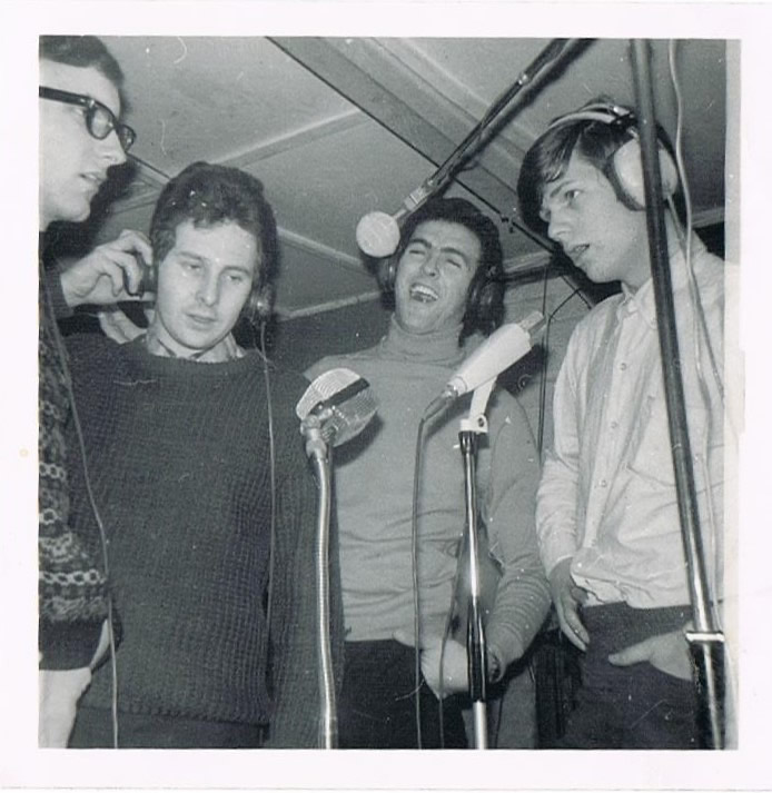 Strangers recording session in England. Left to right: Mike Stymast, Barry Casson, Bobby Hanna and David Foster.